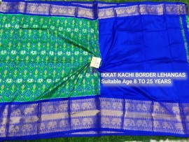 Dark green and dark blue ikkat kanchi border lehenga