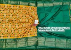 Dark mustard and dark green Ikkat kanchi border lehenga