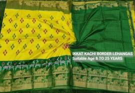 Yellow and dark green pochampally ikkat kanchi border lehenga