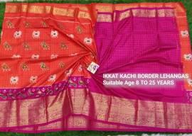 Orange and pink pochampally ikkat kanchi border lehenga