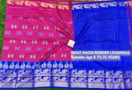 Dark pink and dark blue ikkat kanchi border lehenga