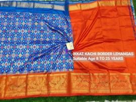 Blue and orange pochampally ikkat kanchi border lehenga