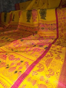 Yellow mercerised by khadi handwoven jamdani sarees