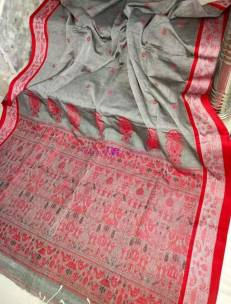 Gray Mercerised khadi handwoven jamdani sarees