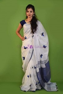 White with navy blue linen embroidered sarees