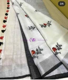 White and black linen embroidered sarees