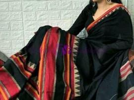 Black Narayanpet cotton sarees