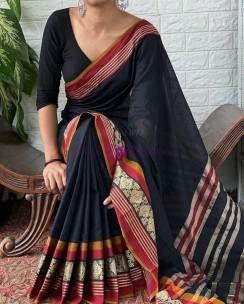 Navy blue Narayanpet cotton sarees