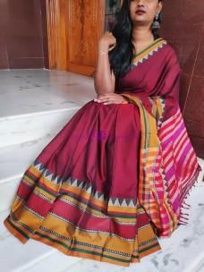 Dark pink narayanpet cotton sarees