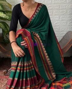 Dark green Narayanpet cotton sarees