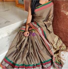 Light brown narayanpet cotton sarees