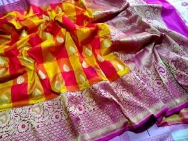 Red and yellow with pink semi pure banarasi silk checks sarees