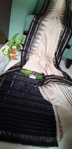 Cream and black handloom ikkat cotton sarees