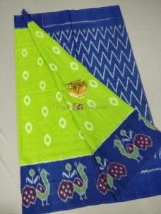 Apple green ikat cotton sarees