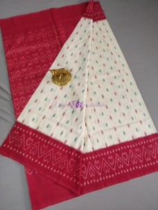 White and red ikkat Cotton sarees