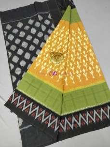 Mustard and black ikat cotton sarees