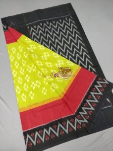 Green with red and black ikat cotton sarees