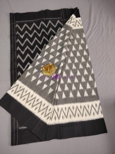 Grey and black ikat cotton sarees