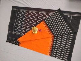 Orange and black ikat cotton sarees