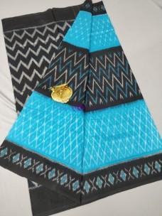 Black with sky blue ikat cotton sarees