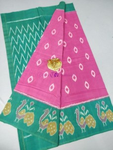 Pink and green ikat cotton sarees