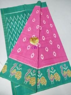 Pink and green ikat cotton sarees