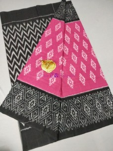 Pink and black ikat cotton sarees