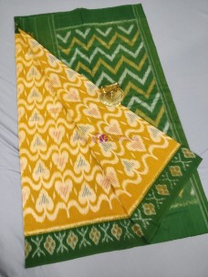 Mustard and dark green ikat cotton sarees