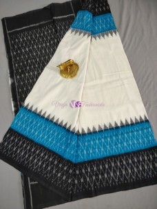 White with black and light blue ikkat Cotton sarees