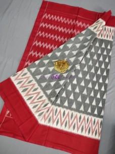 Grey and red ikat cotton sarees