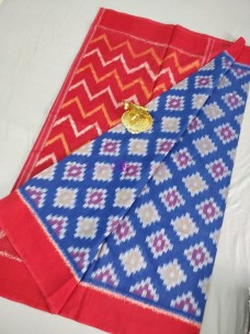 Blue and red ikat cotton sarees