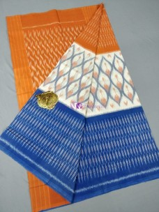 Cream with light orange and blue ikat cotton sarees