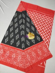 Black with red ikat cotton sarees