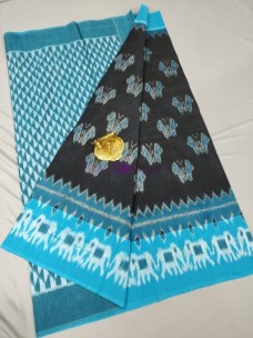 Black and sky blue ikat cotton sarees