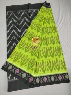 Green and black ikat cotton sarees