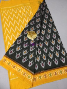 Black with mustard yellow ikat cotton sarees
