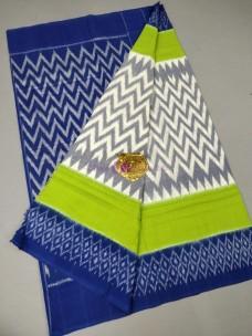 Grey with Royal Blue ikat cotton sarees