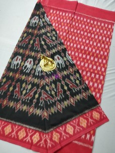 Black ikat cotton sarees