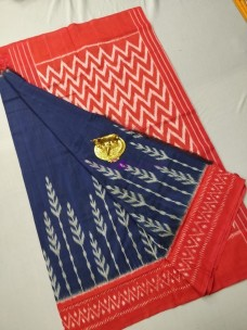Navy blue and orange ikat cotton sarees