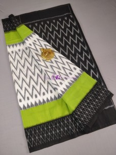 White with green and black ikat cotton sarees