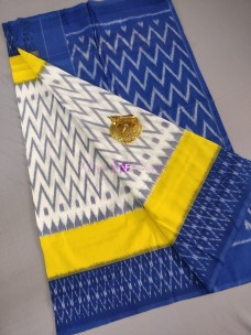 White with yellow and dark blue ikkat Cotton sarees
