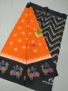 Orange and black pochampally ikkat Cotton sarees