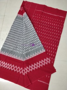 Grey with red ikat cotton sarees