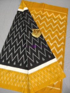 Black and mustard ikkat Cotton sarees