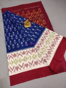 Navy blue and maroon red ikkat Cotton sarees
