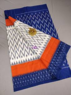 White with orange and dark blue ikkat Cotton sarees