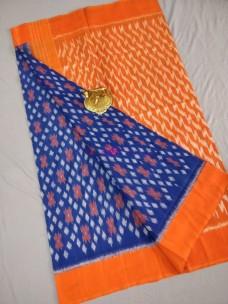 Dark blue and orange ikat cotton sarees