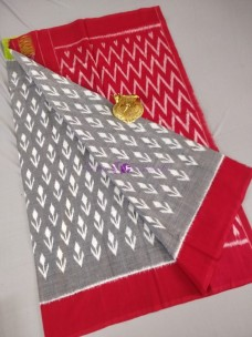 Grey with red ikkat Cotton sarees