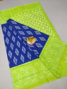 Royal blue and apple green ikat cotton sarees