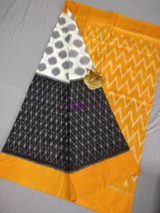 Black and white with mustard ikkat Cotton sarees